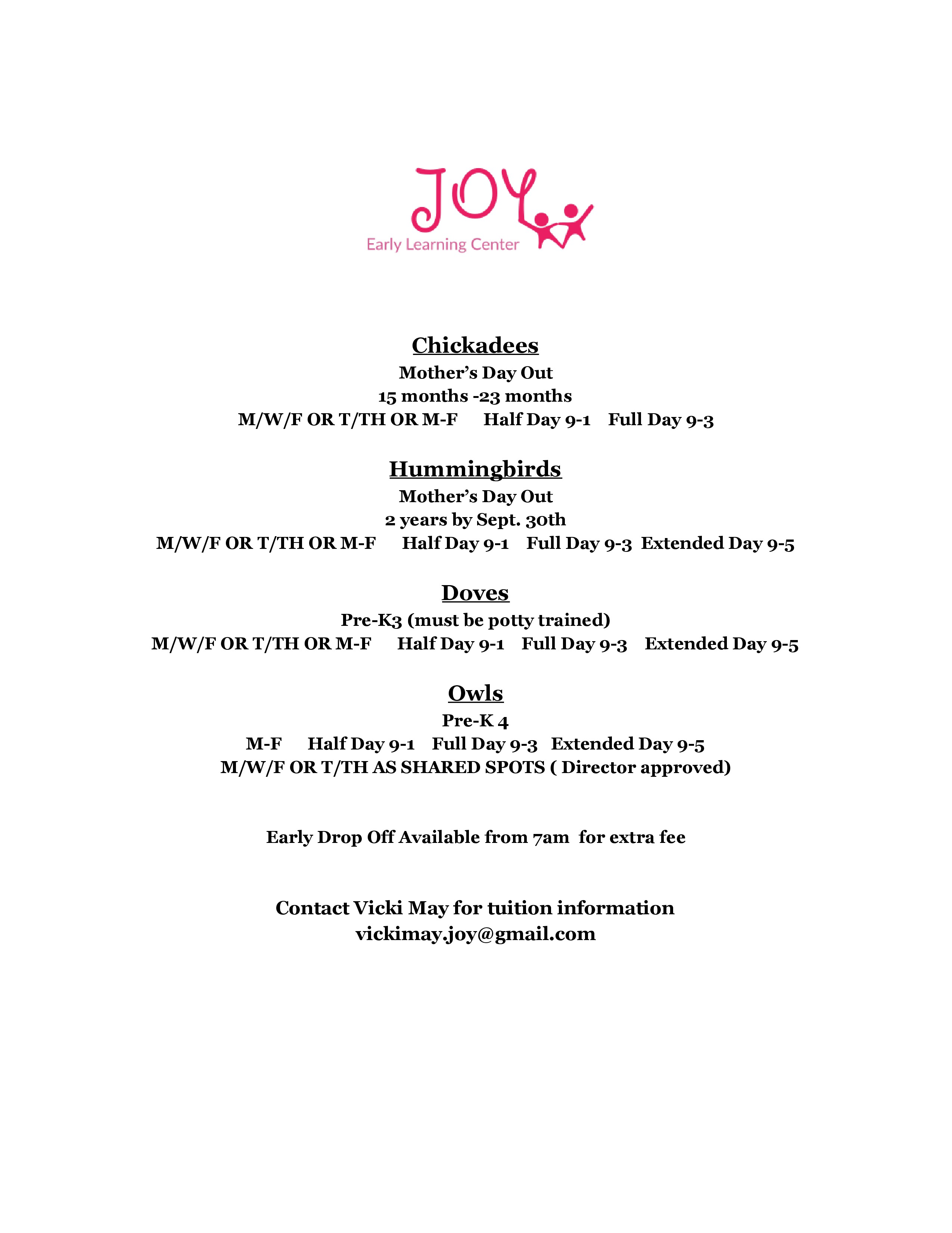 JOY Early Learning Center program options